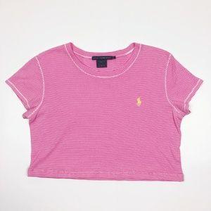 Ralph Lauren Polo Pink Striped Crop Top Tee